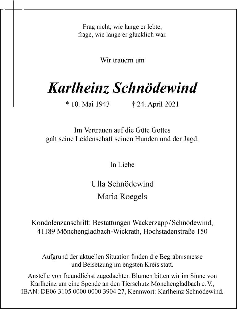 Traueranzeige für Karlheinz Schnödewind vom 01.05.2021 aus Rheinische Post