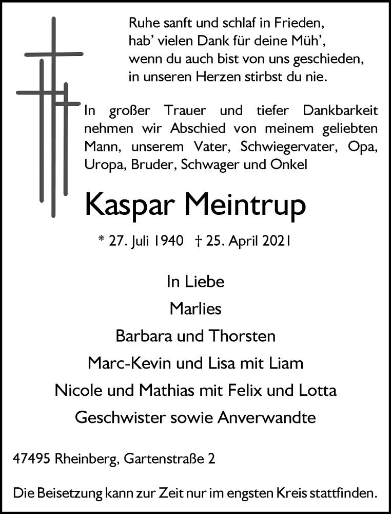 Traueranzeige für Kaspar Meintrup vom 28.04.2021 aus Rheinische Post