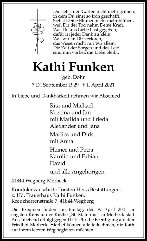 Traueranzeige für Kathi Funken vom 07.04.2021 aus Rheinische Post