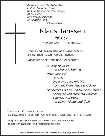 Traueranzeige von Klaus Janss von Rheinische Post