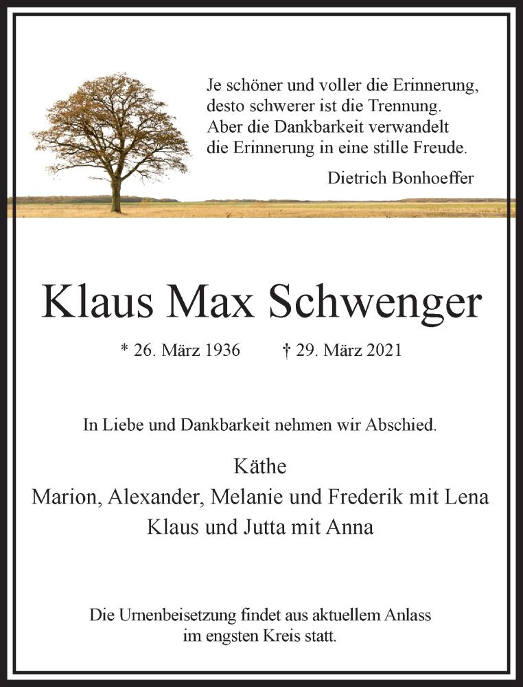 Traueranzeige für Klaus Max Schwenger vom 17.04.2021 aus Rheinische Post
