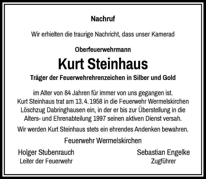 Traueranzeige für Kurt Steinhaus vom 19.04.2021 aus Rheinische Post