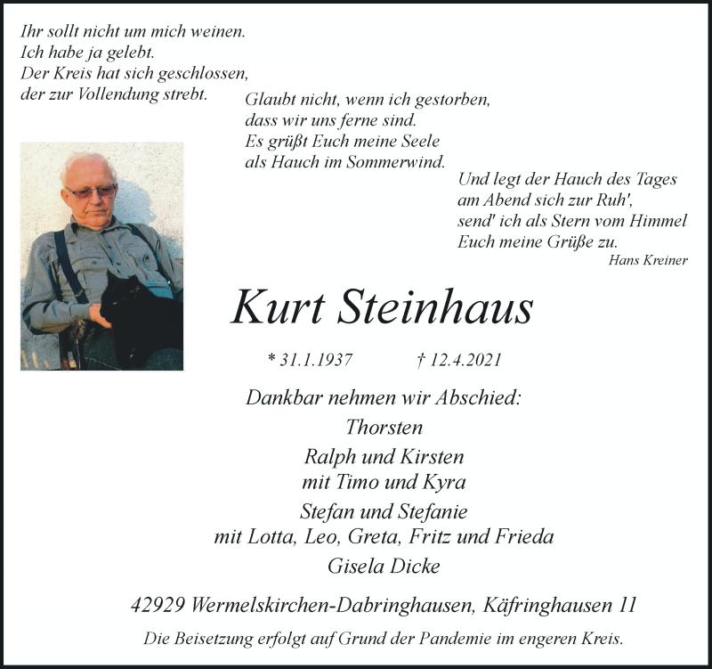 Traueranzeige für Kurt Steinhaus vom 17.04.2021 aus Rheinische Post