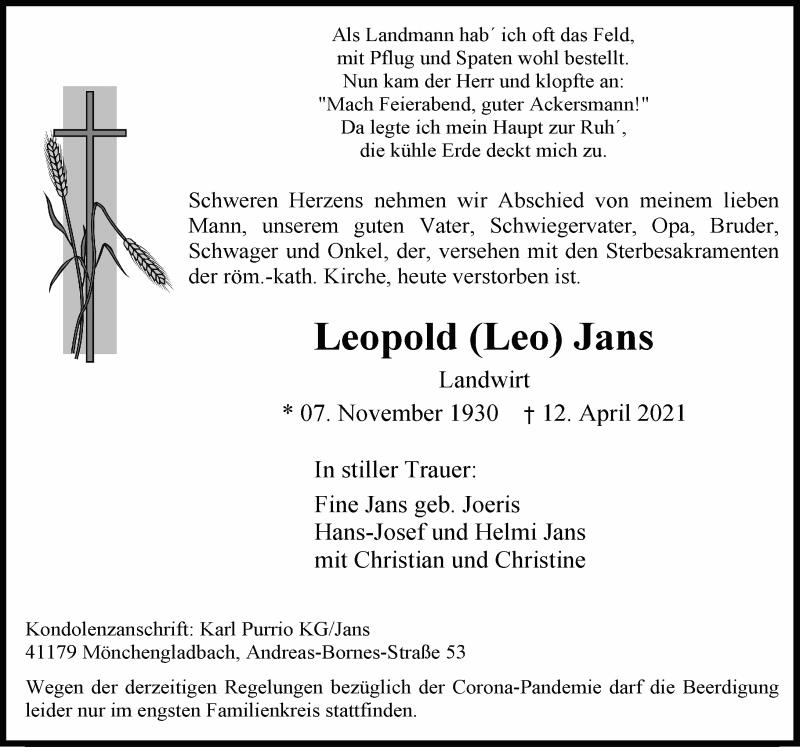 Traueranzeige für Leopold  Jans vom 17.04.2021 aus Rheinische Post