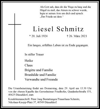 Traueranzeige von Liesel Schmitz von Rheinische Post