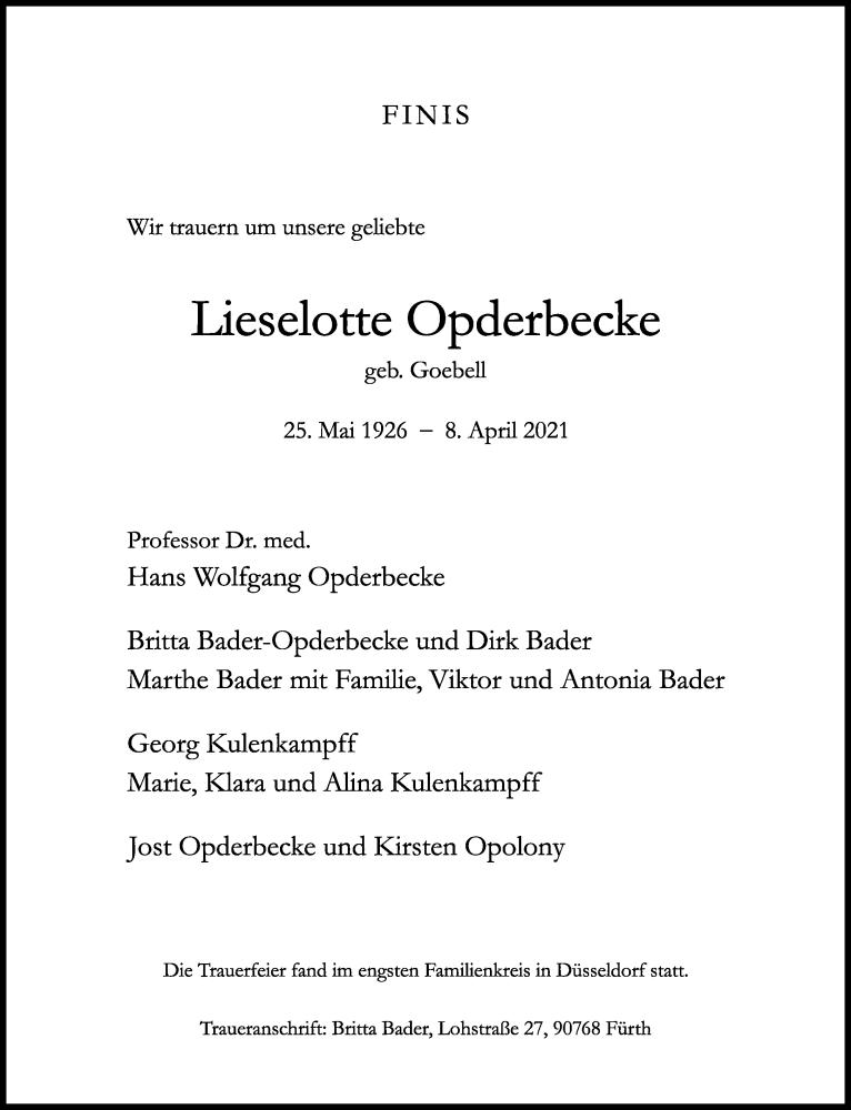 Traueranzeige für Lieselotte Opderbecke vom 17.04.2021 aus Rheinische Post