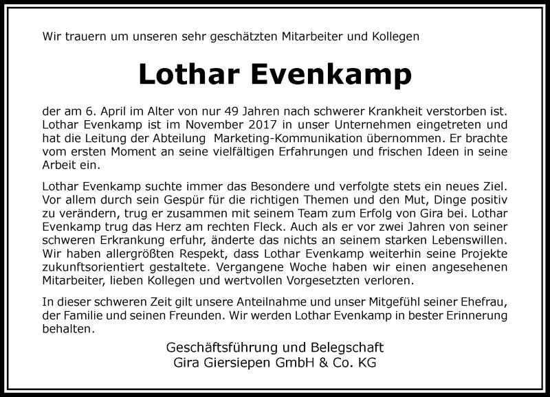 Traueranzeige für Lothar Evenkamp vom 24.04.2021 aus Rheinische Post
