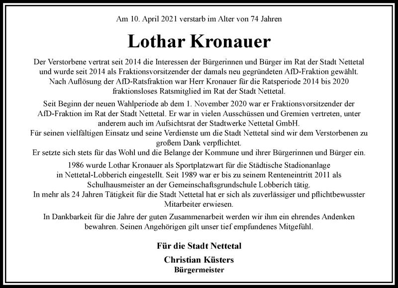 Traueranzeige für Lothar Kronauer vom 17.04.2021 aus Rheinische Post