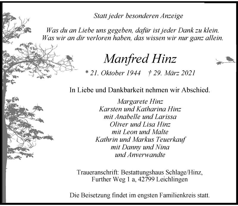 Traueranzeige für Manfred Hinz vom 03.04.2021 aus Rheinische Post