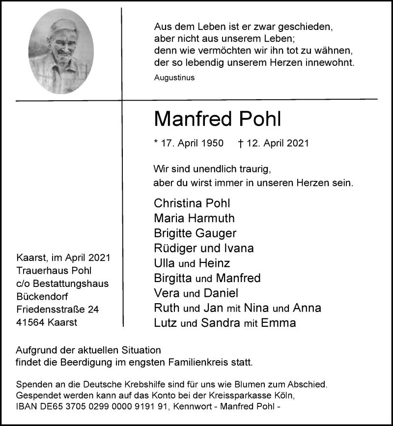 Traueranzeige für Manfred Pohl vom 17.04.2021 aus Rheinische Post