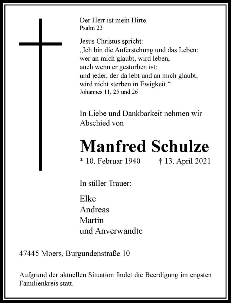 Traueranzeige für Manfred Schulze vom 17.04.2021 aus Rheinische Post