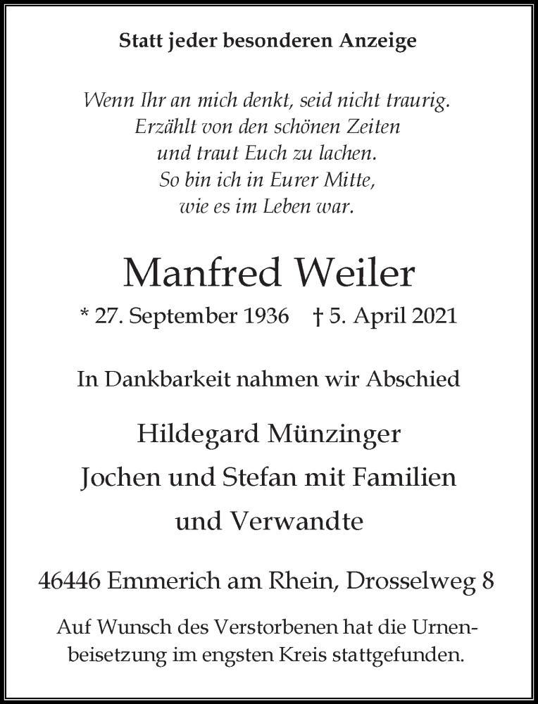 Traueranzeige für Manfred Weiler vom 17.04.2021 aus Rheinische Post