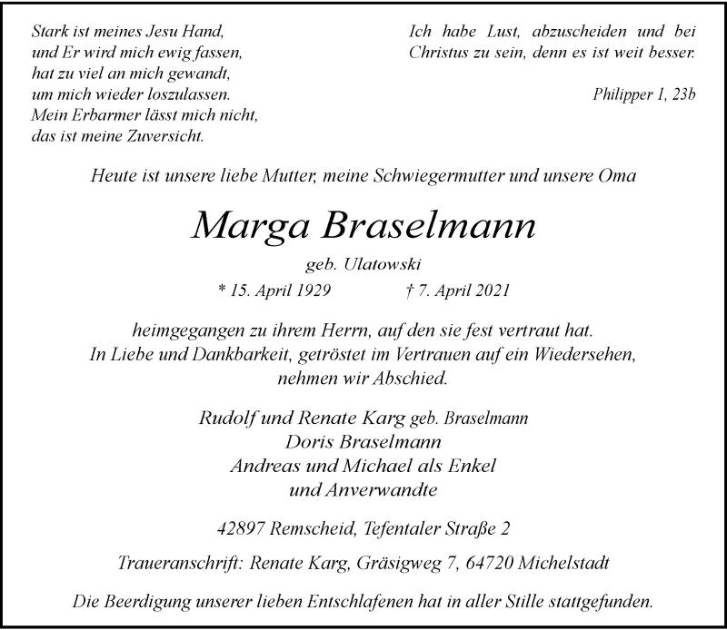 Traueranzeige für Marga Braselmann vom 17.04.2021 aus Rheinische Post