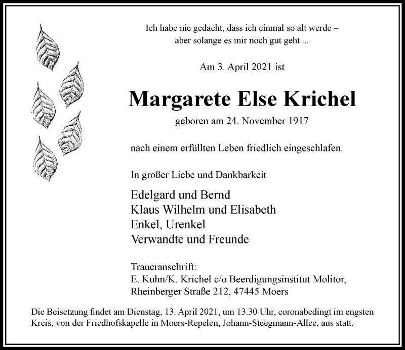 Traueranzeige für Margarete Else Krichel vom 10.04.2021 aus Rheinische Post