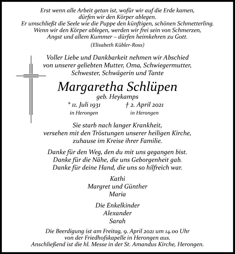 Traueranzeige für Margaretha Schlüpen vom 06.04.2021 aus Rheinische Post