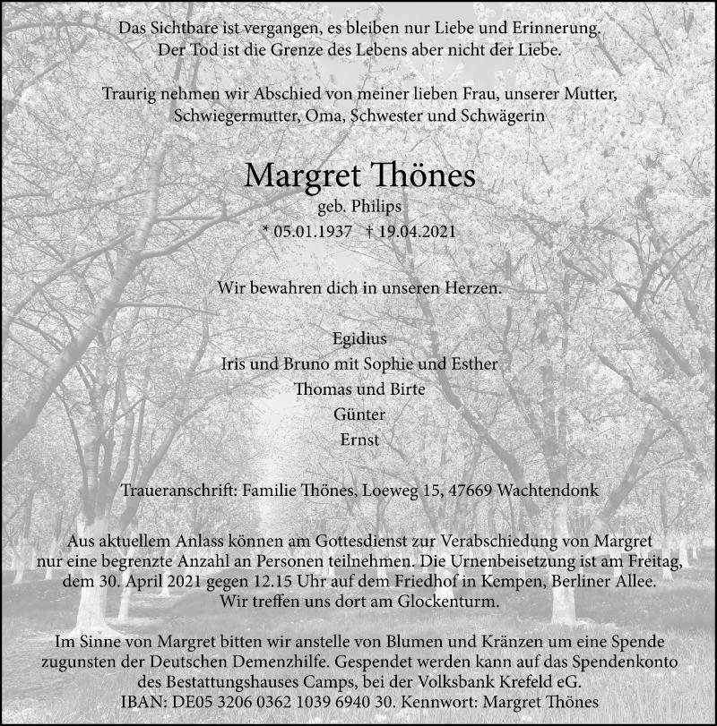Traueranzeige für Margret Thönes vom 24.04.2021 aus Rheinische Post