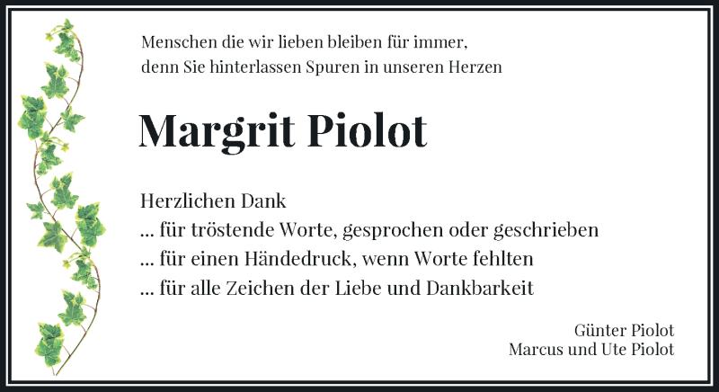 Traueranzeige für Margrit Piolot vom 10.04.2021 aus Rheinische Post