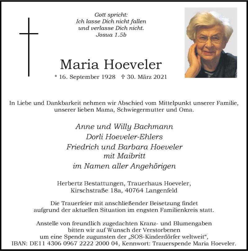 Traueranzeige für Maria Hoeveler vom 03.04.2021 aus Rheinische Post