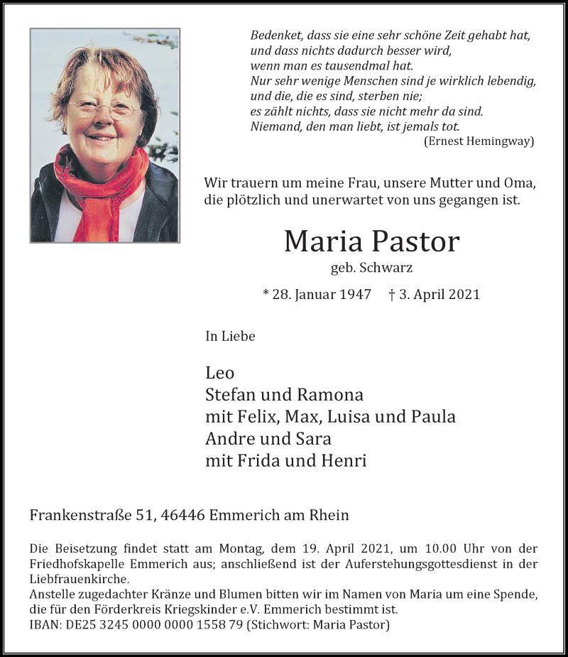 Traueranzeige für Maria Pastor vom 10.04.2021 aus Rheinische Post