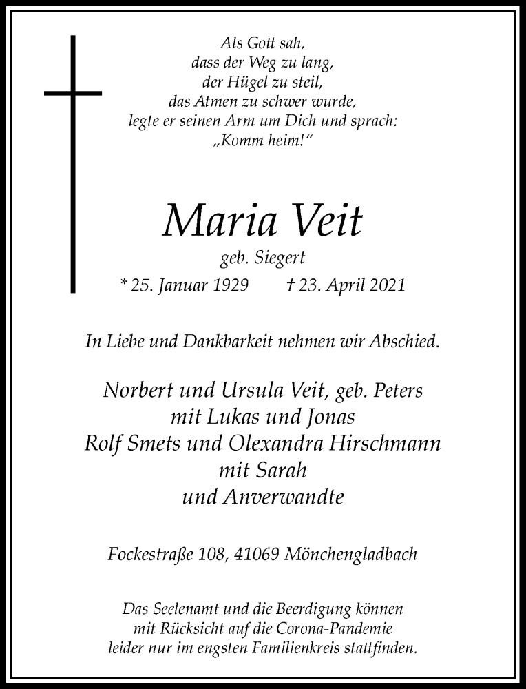 Traueranzeige für Maria Veit vom 26.04.2021 aus Rheinische Post