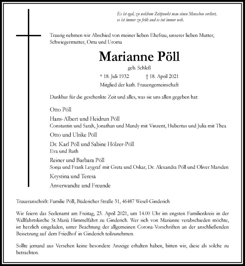 Traueranzeige für Marianne Pöll vom 21.04.2021 aus Rheinische Post