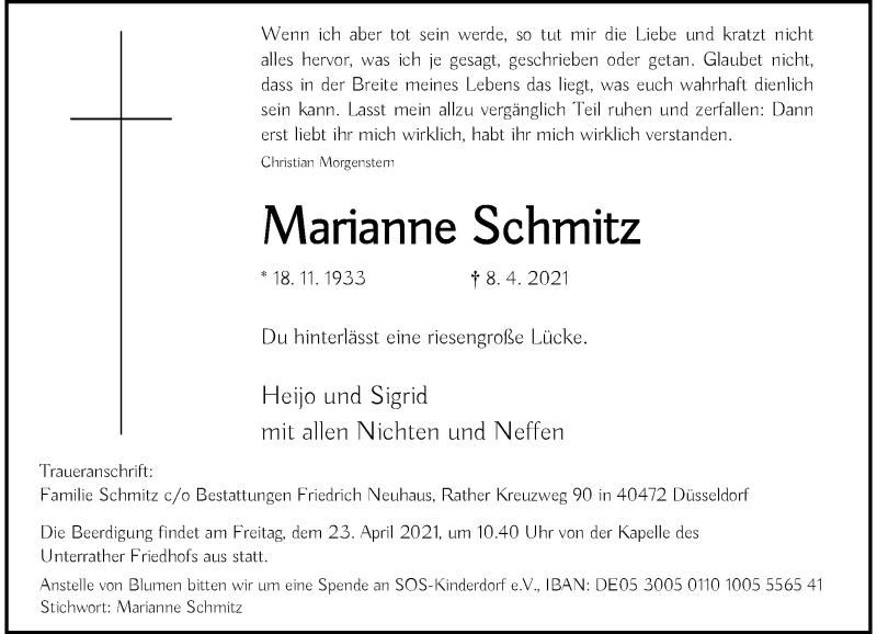 Traueranzeige für Marianne Schmitz vom 17.04.2021 aus Rheinische Post