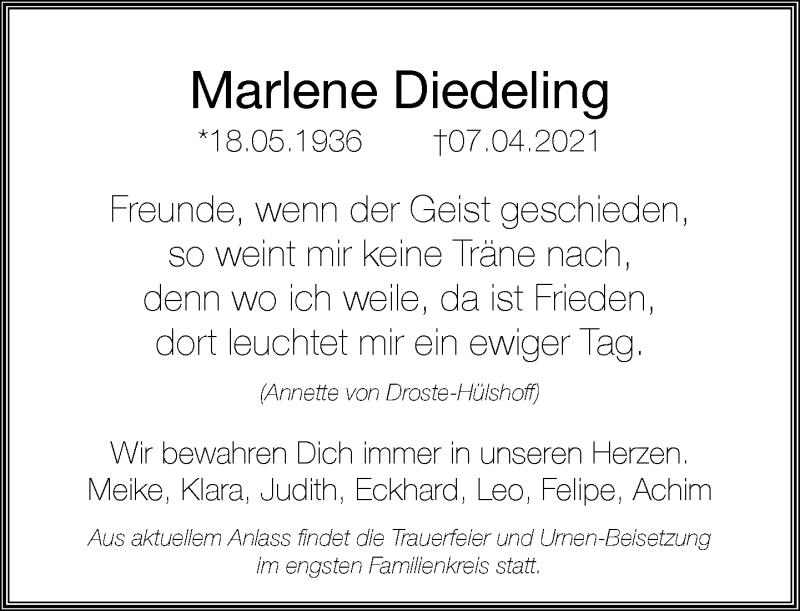 Traueranzeige für Marlene Diedeling vom 17.04.2021 aus Rheinische Post
