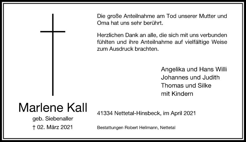 Traueranzeige für Marlene Kall vom 17.04.2021 aus Rheinische Post