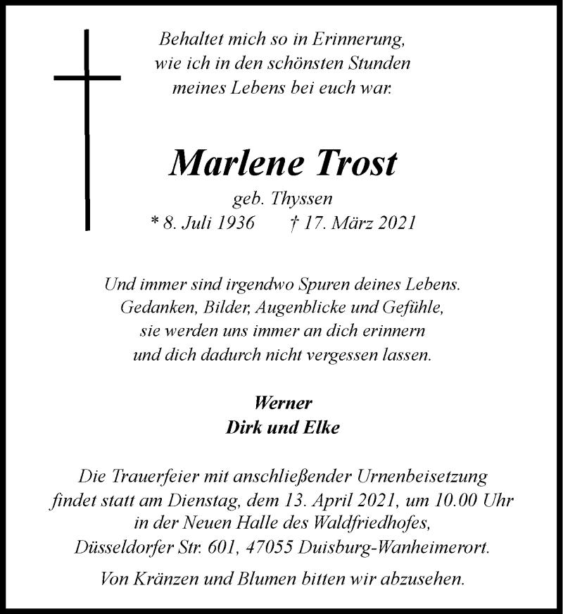 Traueranzeige für Marlene Trost vom 08.04.2021 aus Rheinische Post
