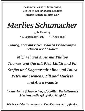 Traueranzeige von Marlies Schumacher von Rheinische Post