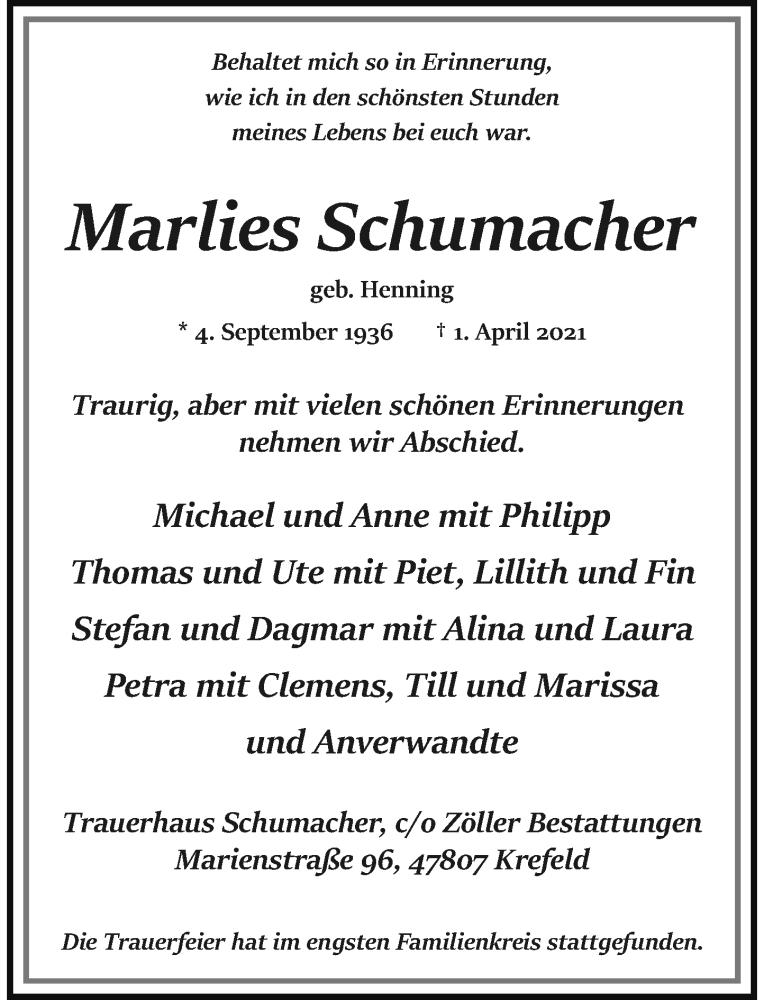 Traueranzeige für Marlies Schumacher vom 10.04.2021 aus Rheinische Post