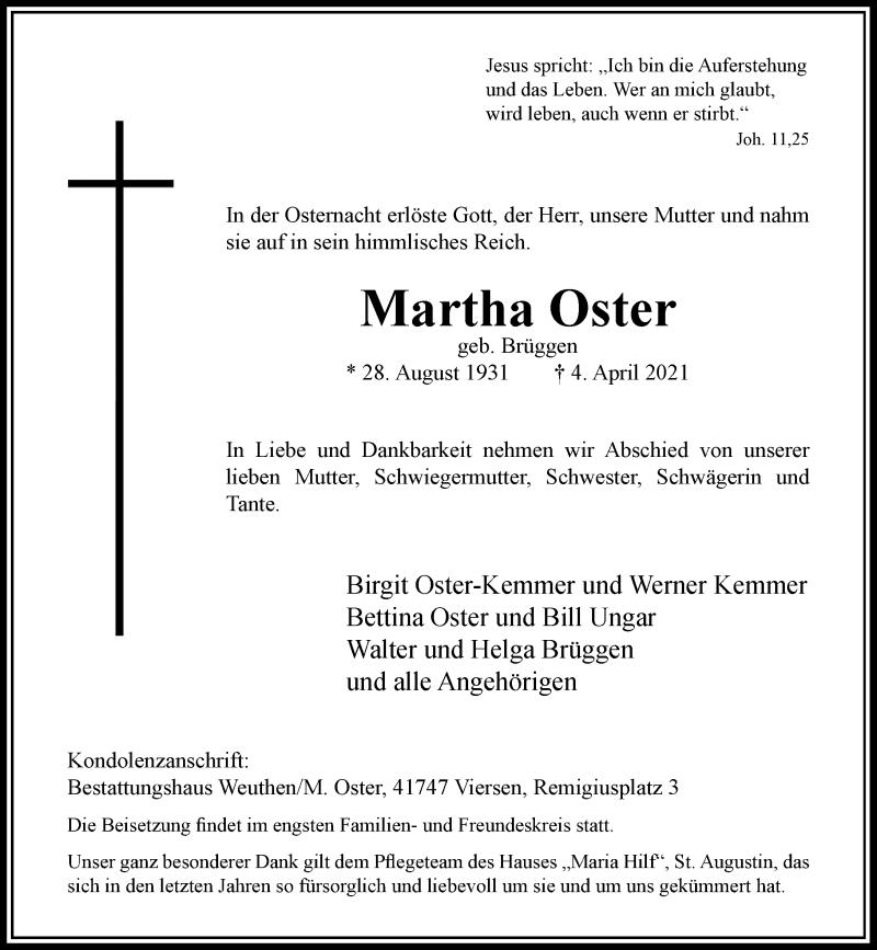 Traueranzeige für Martha Oster vom 10.04.2021 aus Rheinische Post
