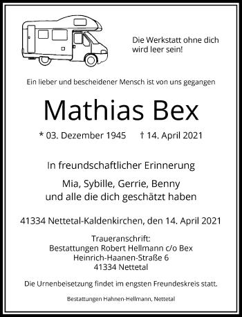 Traueranzeige von Mathias Bex von Rheinische Post