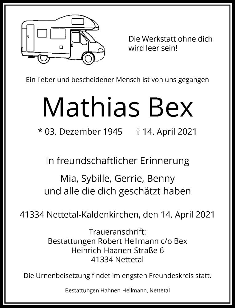 Traueranzeige für Mathias Bex vom 24.04.2021 aus Rheinische Post