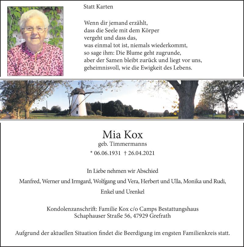 Traueranzeige für Mia Kox vom 01.05.2021 aus Rheinische Post