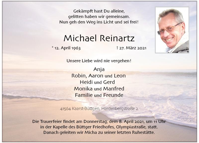 Traueranzeige für Michael Reinartz vom 03.04.2021 aus Rheinische Post