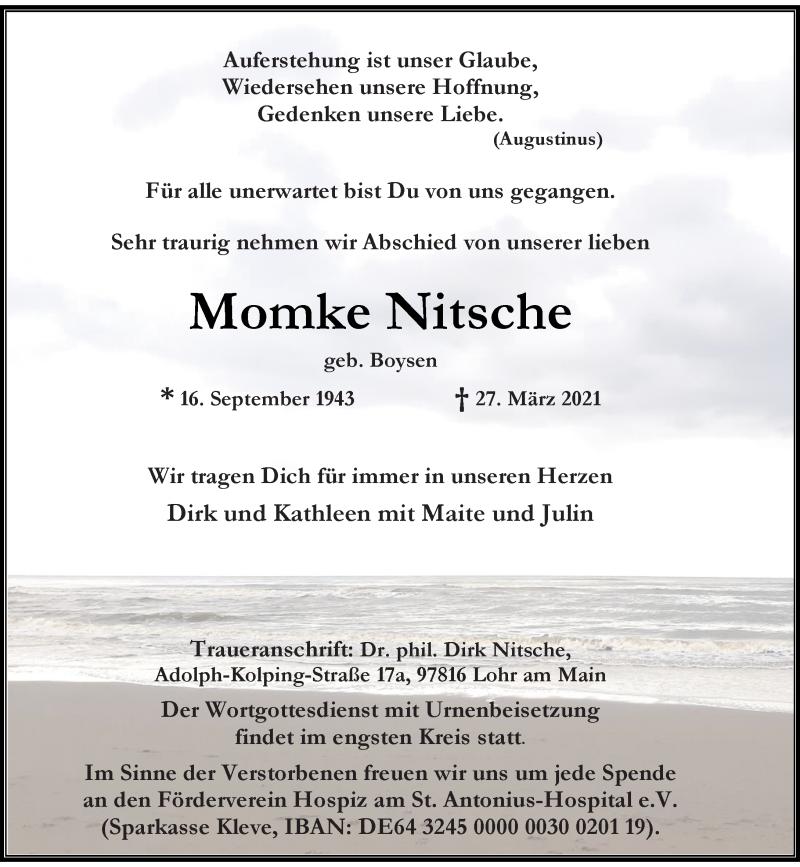 Traueranzeige für Momke Nitsche vom 03.04.2021 aus Rheinische Post