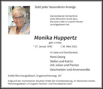 Traueranzeige von Monika Huppertz von Rheinische Post