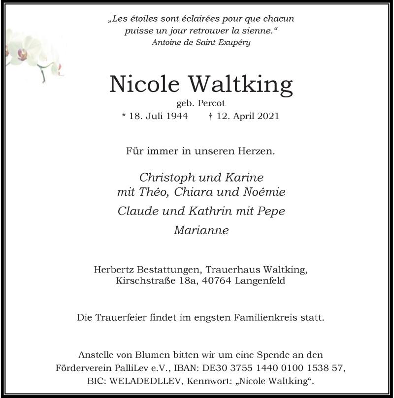 Traueranzeige für Nicole Waltking vom 17.04.2021 aus Rheinische Post