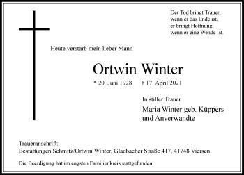 Traueranzeige von Ortwin Winter von Rheinische Post