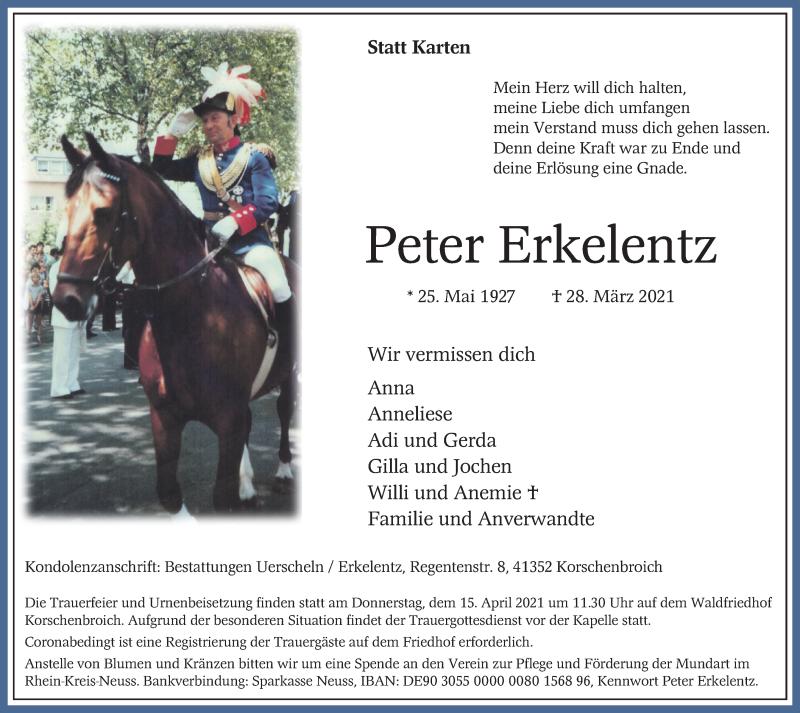 Traueranzeige für Peter Erkelentz vom 10.04.2021 aus Rheinische Post