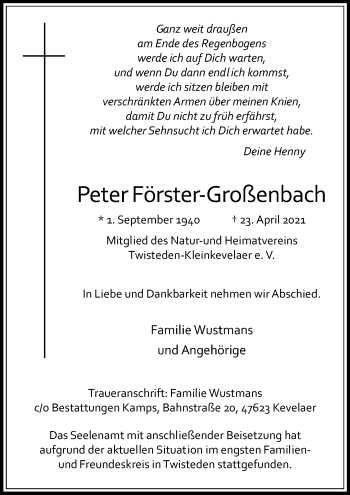 Traueranzeige von Peter Förster-Großenbach von Rheinische Post