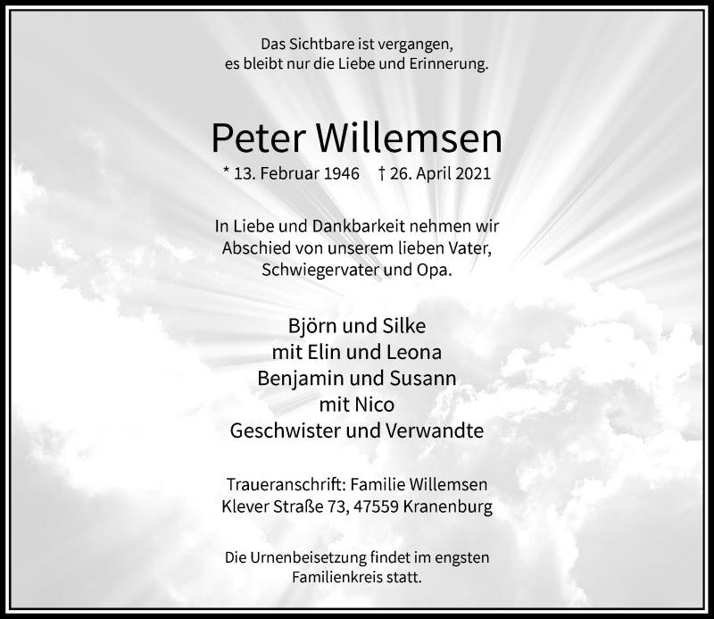 Traueranzeige für Peter Willemsen vom 01.05.2021 aus Rheinische Post