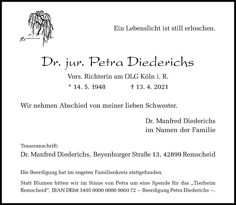 Traueranzeige für Petra Diederichs vom 24.04.2021 aus Rheinische Post