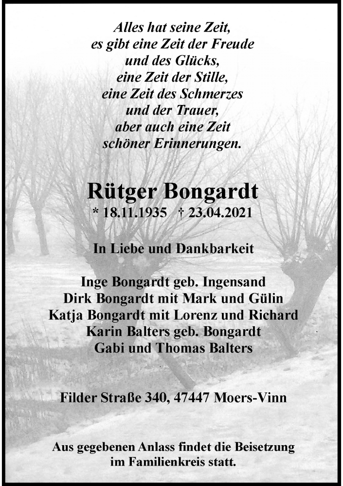 Traueranzeige für Rütger Bongardt vom 27.04.2021 aus Rheinische Post