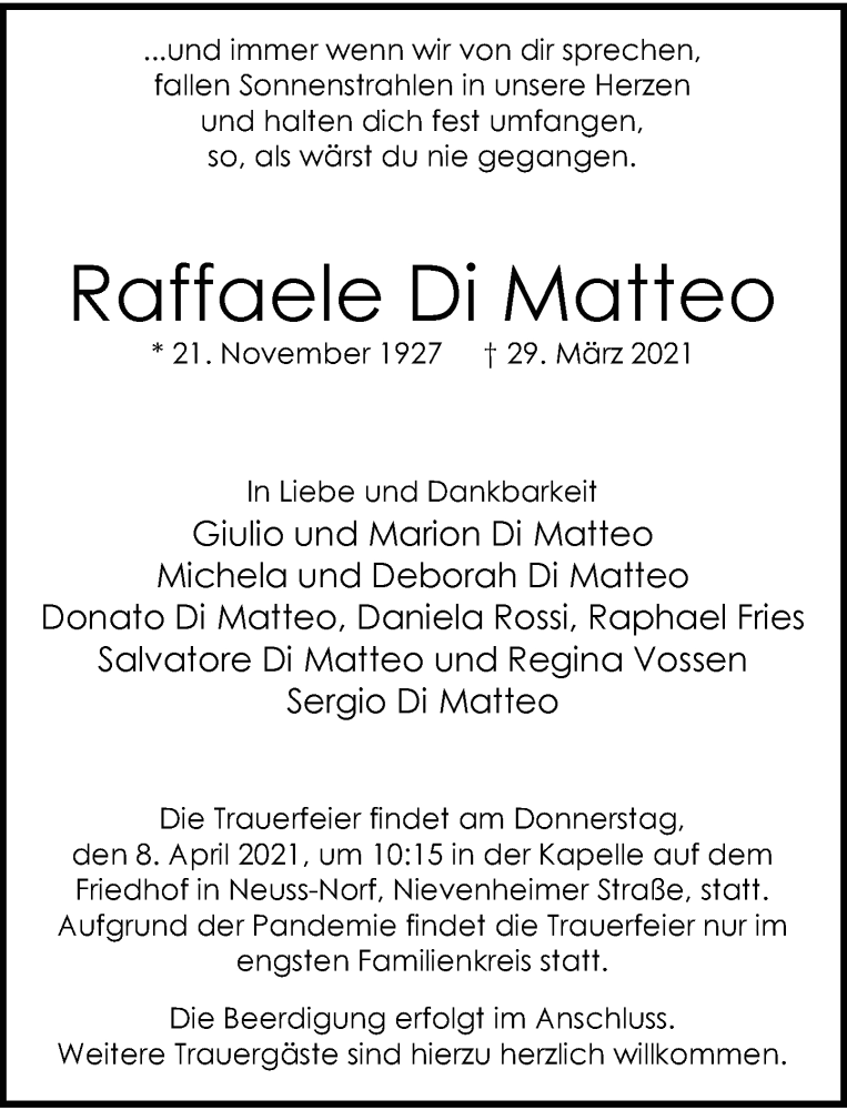 Traueranzeige für Raffaele Di Matteo vom 03.04.2021 aus Rheinische Post