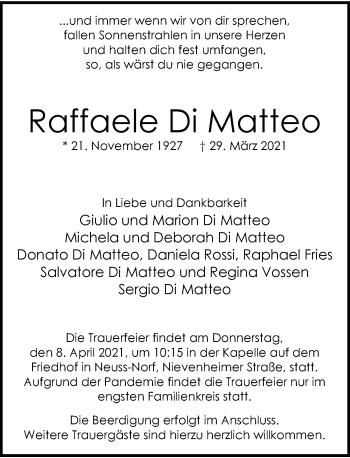 Traueranzeige von Raffaele Di Matteo von Rheinische Post