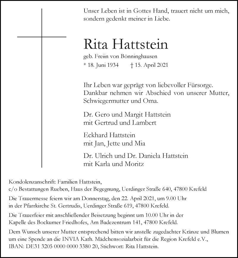 Traueranzeige für Rita Hattstein vom 17.04.2021 aus Rheinische Post