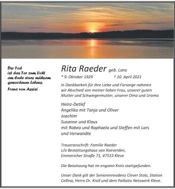 Traueranzeige von Rita Raeder von Rheinische Post