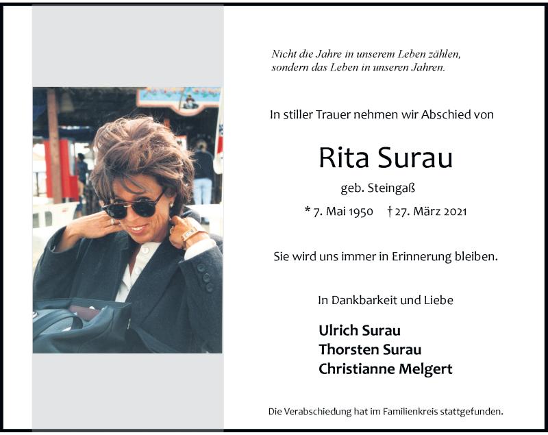 Traueranzeige für Rita Surau vom 10.04.2021 aus Rheinische Post